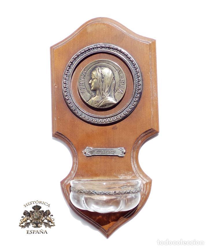 BENDITERA VIRGEN MARIA - 1921 -MEDALLA CENTRAL DE MICHAIL JAMPOLSKY - 21 CM DE ALTO (Antigüedades - Religiosas - Benditeras)