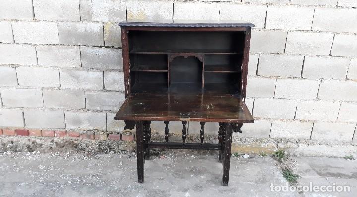 Antigüedades: Bargueño antiguo estilo renacimiento o renacentista, papelera o arquimesa antigua, mueble auxiliar - Foto 9 - 115956931