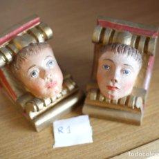 Antigüedades: 2 MENSULAS DE MADERA CON CARA DE ANGELES ,10X10 CM APROX. Lote 115966495