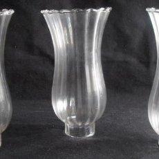 Antigüedades: TRES TUBOS ,TULIPAS, TUBOS DE VIDRIO NITIDO. Lote 116079719