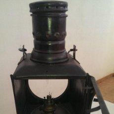 Antigüedades: ANTIGUO FAROL HIERRO FERROVIARIO TREN DE COLA, JEFE DE ESTACION, PIEZA COLECCION TIPO RENFE. Lote 116096019