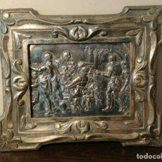 Antigüedades: MARCO DE COBRE ESTILO ART NOUVEAU CON GRABADO LAS BODAS DE CANÁ - IDEAL SUSTITUIR POR ESPEJO. Lote 116099451