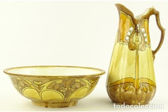 ZAFA Y JARRA DE LAVABO DE MINTON PERIODO SECESIONISTA 1900 (Antigüedades - Porcelanas y Cerámicas - Inglesa, Bristol y Otros)