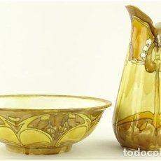 Antigüedades: ZAFA Y JARRA DE LAVABO DE MINTON PERIODO SECESIONISTA 1900. Lote 116100675