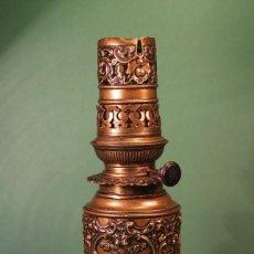 Antigüedades: ANTIGUO QUINQUE DE LATON MODERATEUR. Lote 116101311