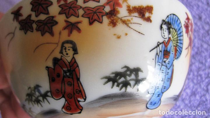 Antigüedades: ANTIGUA SALSERA JAPONESA . JAPON. PORCELANA BLANCA ESMALTADA. DIAMETRO 12 CMS - Foto 2 - 116113667