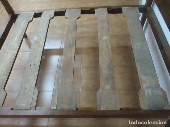 Antigüedades: Curiosa Cama - Estilo IV - Madera Nogal - Bastidor Original - Finales S. XVIII - Foto 11 - 116115447