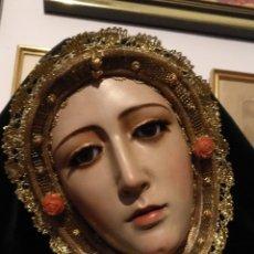 Antigüedades: PRECIOSO ROSTRILLO DORADO PARA VIRGEN O SANTA DE VESTIR SEMANA SANTA , ENCAJES DORADOS VER MEDIDAS. Lote 181622121