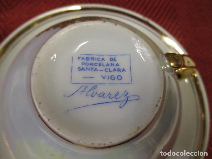 Antigüedades: SANTA CLARA VIGO - RARA TAZA DESAYUNO Y PLATO, PRUEBA ??, DATADOS 1946 430GR + INFO - Foto 2 - 116120231