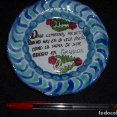 Antigüedades: PLATO CERÁMICA FAJALAUZA (GRANADA) CON REFRÁN. Lote 116123319
