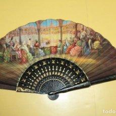 Antigüedades: ANTIGUO ABANICO DE MADERA FIRMADO J.SANCHIS. Lote 116148439
