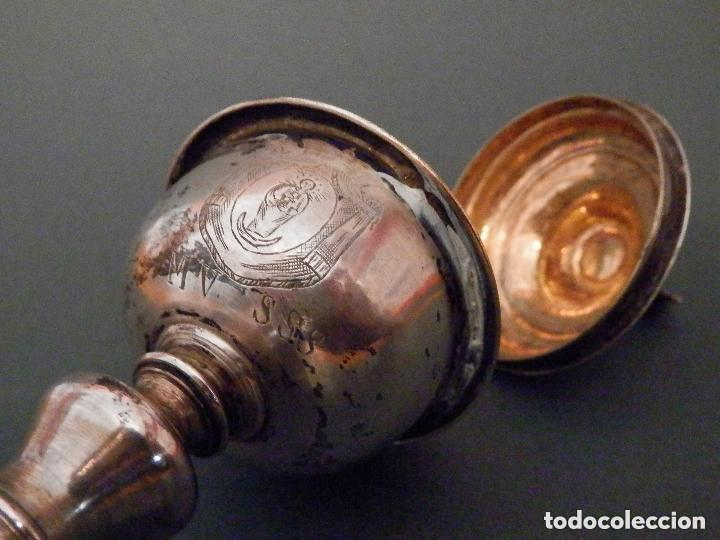 IMPORTANTE COPÓN BARROCO DEL SIGLO XVIII CON INSCRIPCIONES Y ESCUDO ¡VER FOTOS! (Antigüedades - Religiosas - Orfebrería Antigua)