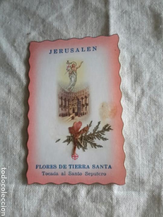 ESTAMPA CON RELIQUIA DE TIERRA SANTA (Antigüedades - Religiosas - Varios)