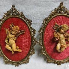 Antigüedades: CUADROS CON FIGURA ANGEL DE GOMA DURA DEPOSE ITALY CON SU NÚMERO PARA COLGAR EN PARED . Lote 116206627