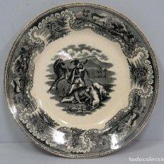 Antigüedades: PLATO LOZA CARTAGENA. CAZA BATIDA. SIGLO XIX. Lote 116210071
