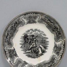 Antigüedades: PLATO LOZA CARTAGENA. CAZA BATIDA. SIGLO XIX. Lote 116210139