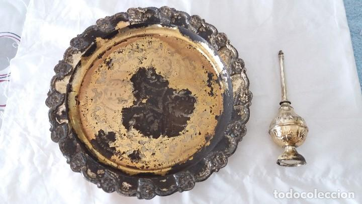 JUEGO PLATA ARABE FUENTE E INCENSARIO (Antigüedades - Platería - Bañado en Plata Antiguo)