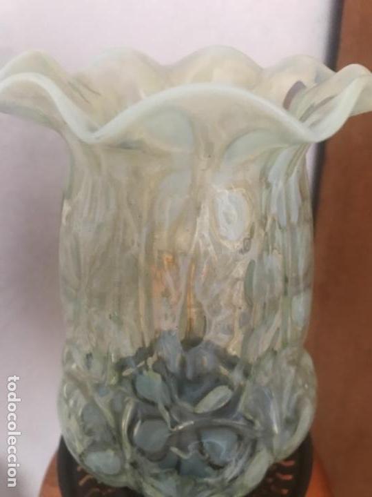 Antigüedades: Tulipa modernista art nouveau deco gas vaselina opalina opalescente vaseline gas oil lamp - Foto 3 - 116244995