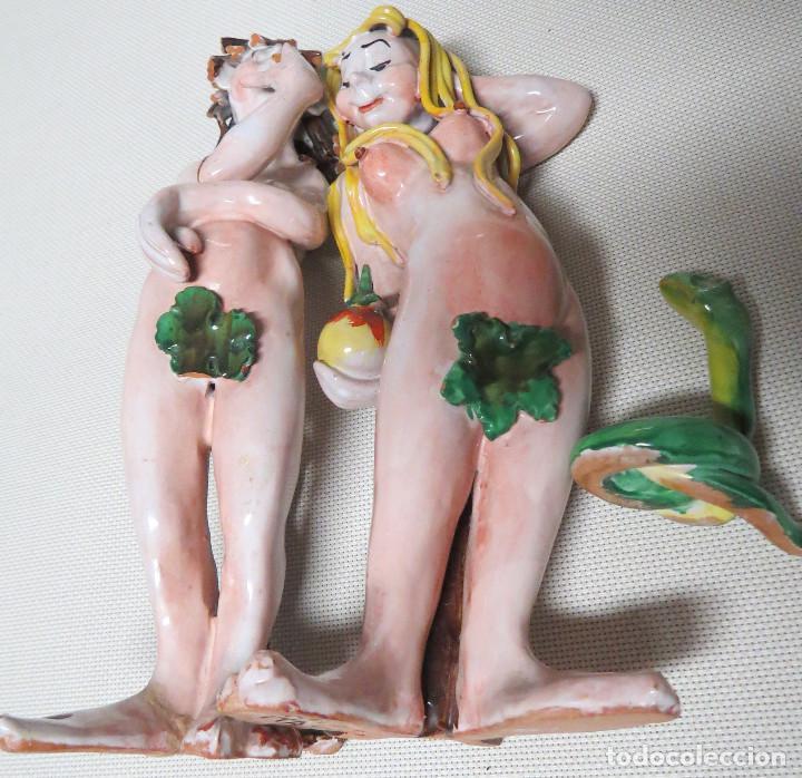 Antigüedades: ADAN Y EVA, EL PECADO ORIGINAL, MAYOLICA ITALIANA FINALES DEL SIGLO XIX-PRINCIPIO DEL SIGLO XX - Foto 24 - 116251659