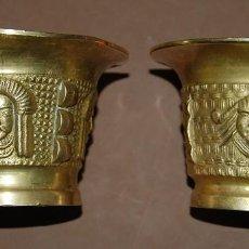 Antigüedades: LOTE DE DOS MORTEROS DE BRONCE LABRADOS-03 AB. Lote 116295359