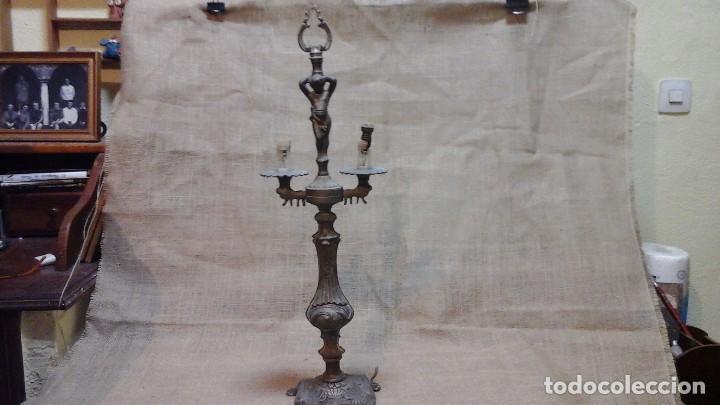 LÁMPARA- CANDELABRO . COMPOSICIÓN , A RESTAURAR (Antigüedades - Iluminación - Candelabros Antiguos)