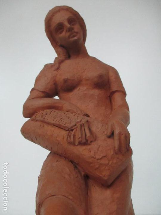 Antigüedades: Joven Figura - Puntaire - Encajera - Terracota - Firma Camps - Foto 19 - 116304371