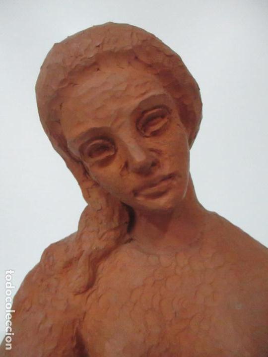 Antigüedades: Joven Figura - Puntaire - Encajera - Terracota - Firma Camps - Foto 21 - 116304371