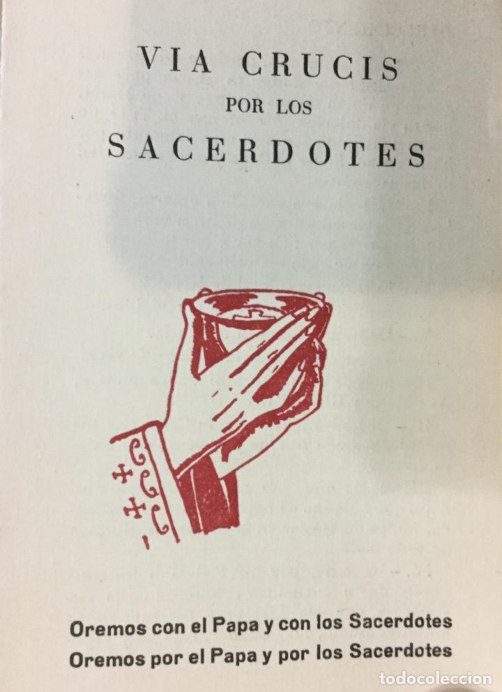 TRÍPTICO VÍA CRUCIS PARA SACERDOTES AÑO 1959 (Antigüedades - Religiosas - Artículos Religiosos para Liturgias Antiguas)