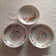 Antigüedades: TRES PLATOS PORCELANA CHINA CON SELLO. Lote 116328547