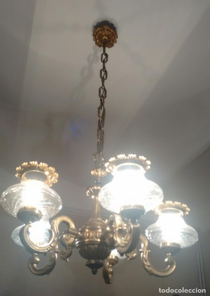 Antigüedades: Lámpara metálica de techo . Recogida en Barcelona. - Foto 2 - 116351799
