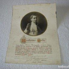 Antigüedades: PAPA BENEDICTO XV. DOCUMENTO ORIGINAL INDULGENCIA PLENARIA AÑO 1919 .. Lote 116379011
