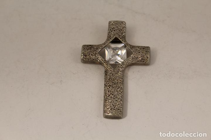 Antigüedades: colgante cruz plateada con piedra de cuarzo - Foto 4 - 124627615