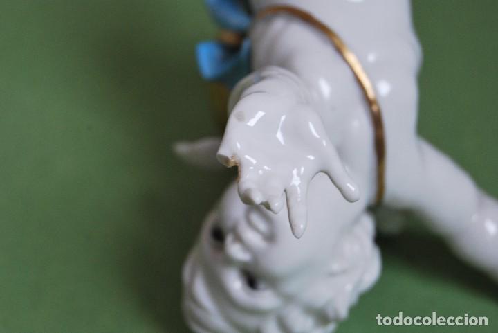 Antigüedades: PRECIOSO ÁNGEL DE PORCELANA DE ALGORA - ANGELITO CON BOLA - QUERUBÍN - Foto 10 - 116444039