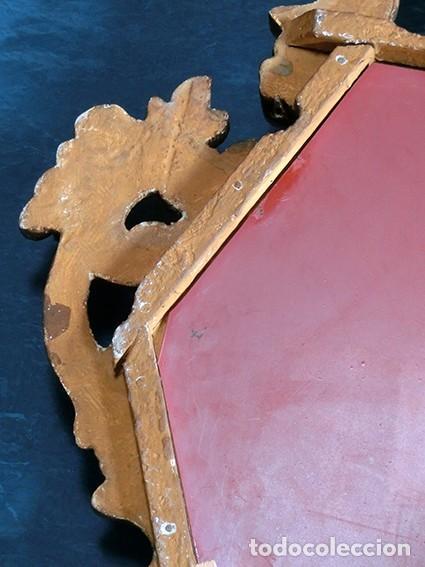 Antigüedades: ANTIGUA Y PRECIOSA CORNUCOPIA - ESPEJO MADERA TALLADA - PAN DE ORO - RECIBIDOR - TEMÁTICA FLORAL - Foto 3 - 116473631