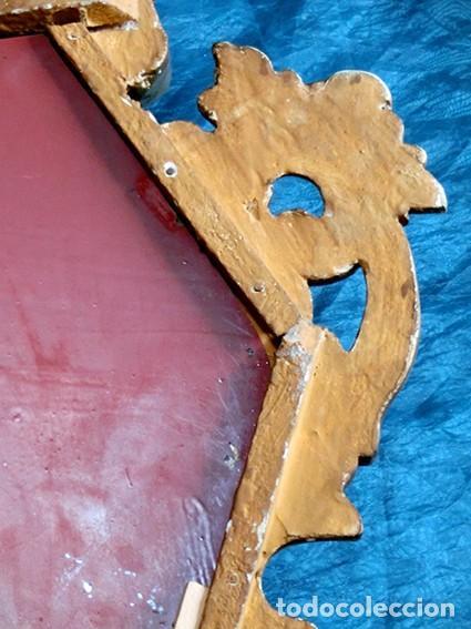 Antigüedades: ANTIGUA Y PRECIOSA CORNUCOPIA - ESPEJO MADERA TALLADA - PAN DE ORO - RECIBIDOR - TEMÁTICA FLORAL - Foto 6 - 116473631