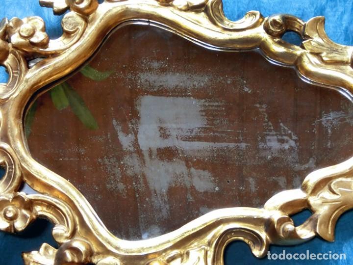 Antigüedades: ANTIGUA Y PRECIOSA CORNUCOPIA - ESPEJO MADERA TALLADA - PAN DE ORO - RECIBIDOR - TEMÁTICA FLORAL - Foto 9 - 116473631