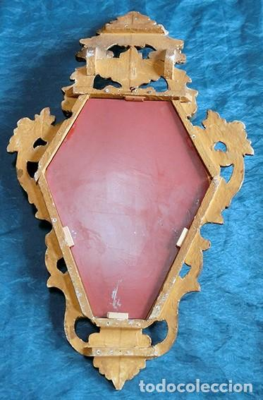 Antigüedades: ANTIGUA Y PRECIOSA CORNUCOPIA - ESPEJO MADERA TALLADA - PAN DE ORO - RECIBIDOR - TEMÁTICA FLORAL - Foto 10 - 116473631