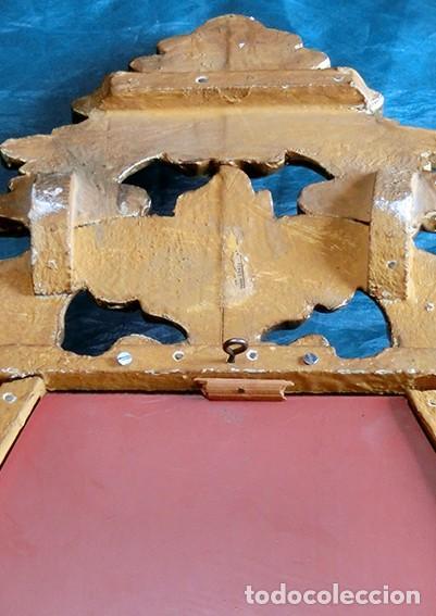 Antigüedades: ANTIGUA Y PRECIOSA CORNUCOPIA - ESPEJO MADERA TALLADA - PAN DE ORO - RECIBIDOR - TEMÁTICA FLORAL - Foto 13 - 116473631