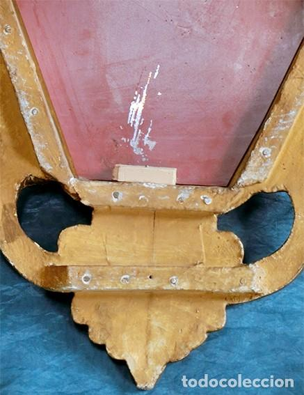 Antigüedades: ANTIGUA Y PRECIOSA CORNUCOPIA - ESPEJO MADERA TALLADA - PAN DE ORO - RECIBIDOR - TEMÁTICA FLORAL - Foto 16 - 116473631
