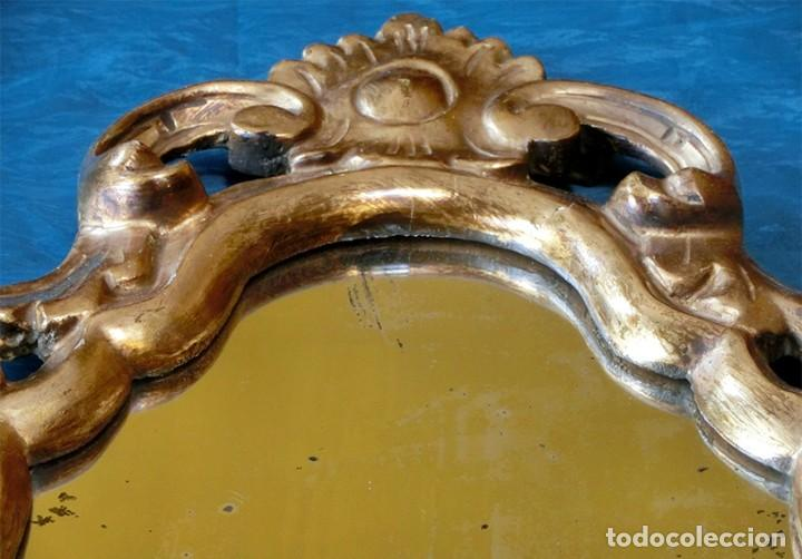Antigüedades: ANTIGUA Y PRECIOSA CORNUCOPIA - ESPEJO MADERA TALLADA - PAN DE ORO - RECIBIDOR - TEMÁTICA FLORAL - Foto 18 - 116473631
