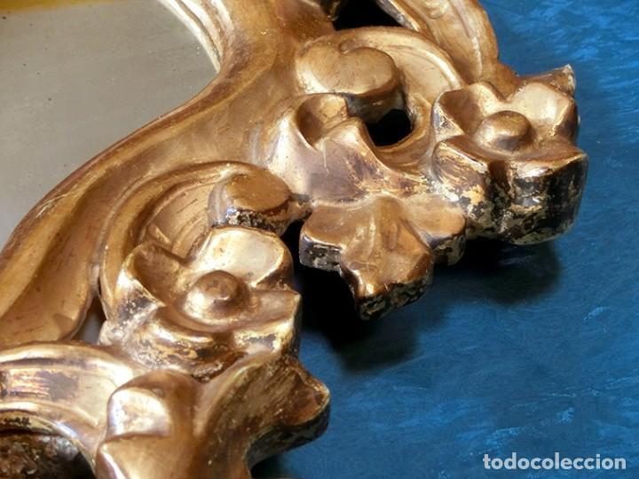 Antigüedades: ANTIGUA Y PRECIOSA CORNUCOPIA - ESPEJO MADERA TALLADA - PAN DE ORO - RECIBIDOR - TEMÁTICA FLORAL - Foto 21 - 116473631