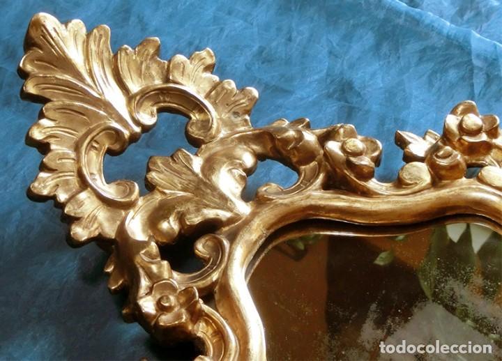 Antigüedades: ANTIGUA Y PRECIOSA CORNUCOPIA - ESPEJO MADERA TALLADA - PAN DE ORO - RECIBIDOR - TEMÁTICA FLORAL - Foto 22 - 116473631