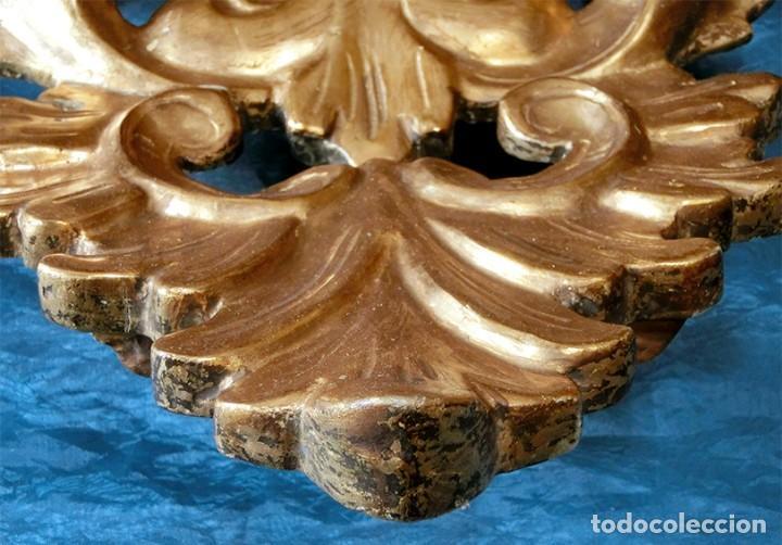 Antigüedades: ANTIGUA Y PRECIOSA CORNUCOPIA - ESPEJO MADERA TALLADA - PAN DE ORO - RECIBIDOR - TEMÁTICA FLORAL - Foto 24 - 116473631