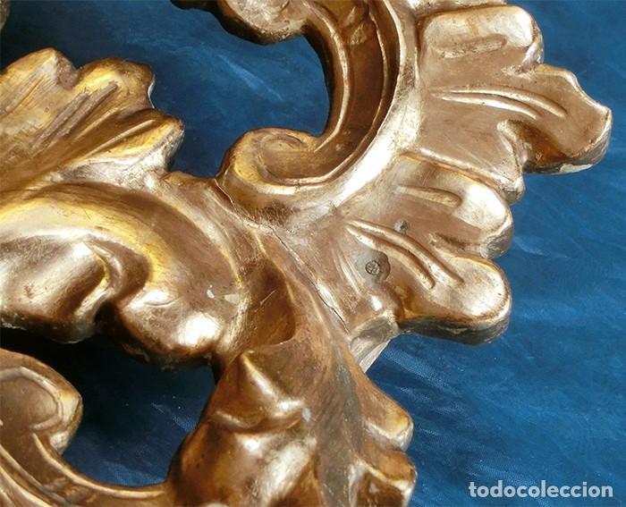 Antigüedades: ANTIGUA Y PRECIOSA CORNUCOPIA - ESPEJO MADERA TALLADA - PAN DE ORO - RECIBIDOR - TEMÁTICA FLORAL - Foto 26 - 116473631