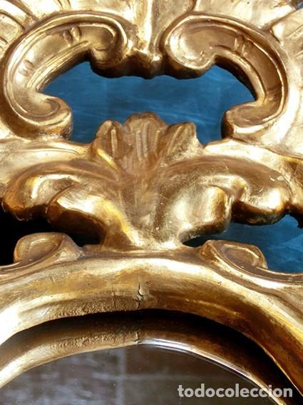 Antigüedades: ANTIGUA Y PRECIOSA CORNUCOPIA - ESPEJO MADERA TALLADA - PAN DE ORO - RECIBIDOR - TEMÁTICA FLORAL - Foto 28 - 116473631