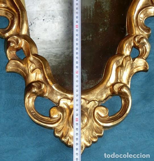 Antigüedades: ANTIGUA Y PRECIOSA CORNUCOPIA - ESPEJO MADERA TALLADA - PAN DE ORO - RECIBIDOR - TEMÁTICA FLORAL - Foto 30 - 116473631