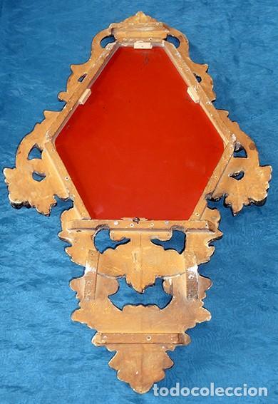 Antigüedades: ANTIGUA Y PRECIOSA CORNUCOPIA - ESPEJO MADERA TALLADA - PAN DE ORO - RECIBIDOR - TEMÁTICA FLORAL - Foto 32 - 116473631