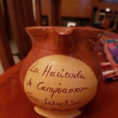 Antigüedades: JARRA DE CERAMICA DE 1/4 DE LITRO DE LA HACIENDA CAMPO AMOR. Lote 116480090