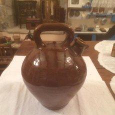 Antigüedades - Antiguo botijo / canti de aceite de ceramica marrón catalan, del siglo XIX - 116492227