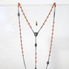 Antigüedades: ROSARIO DE PLATA Y CORAL. Lote 116538331
